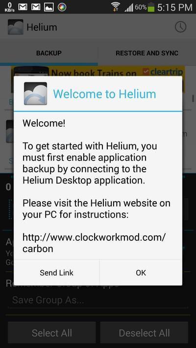 Launch Helium App