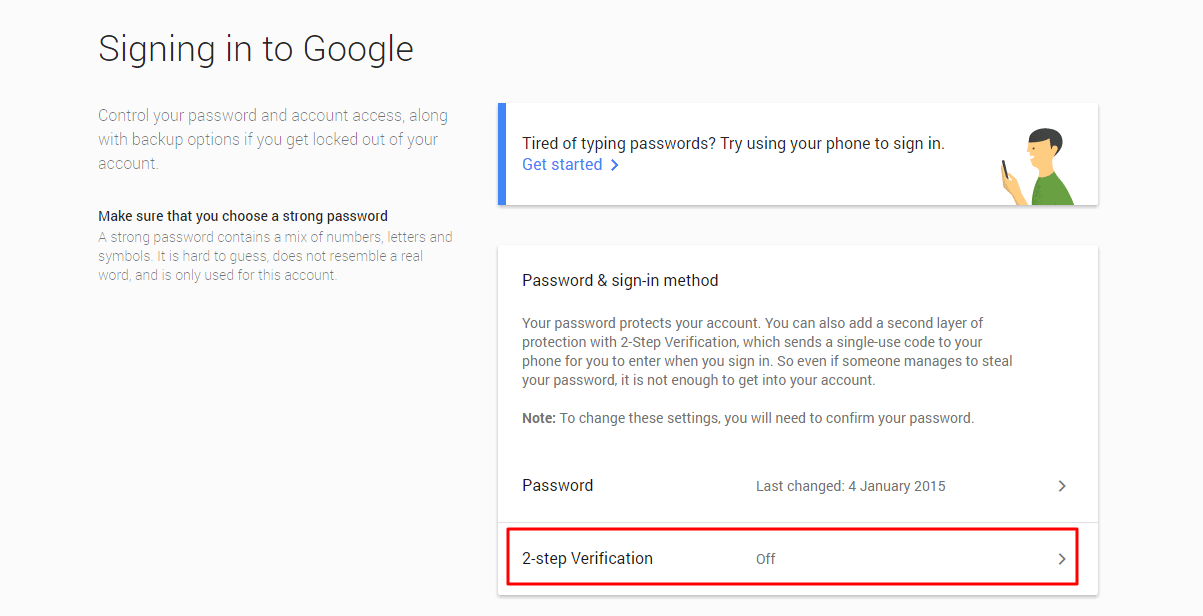 Enable 2-Step Verification