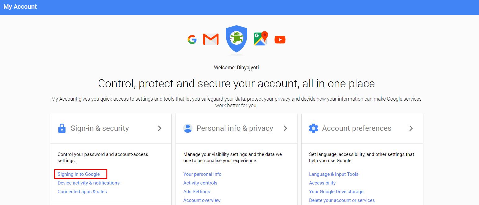 My google account login