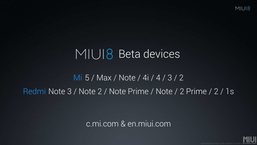 List of Devices getting MIUI 8 Global Stable ROM