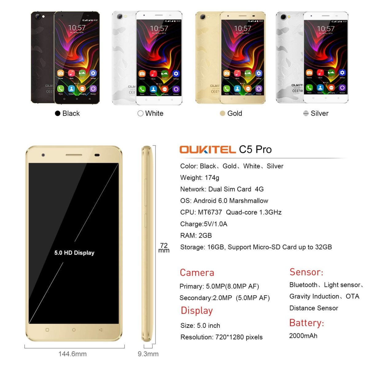 OUKITEL C5 Pro full Specifications and will be priced under $75