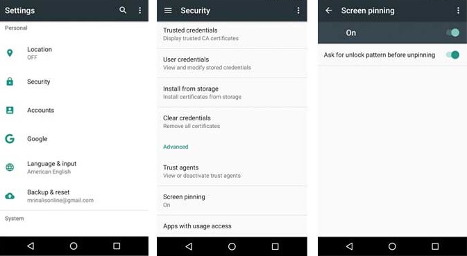 screen pinning in Android