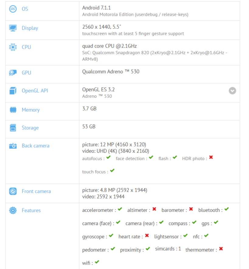 GFXBench Moto Z Android 7.1.1 Nougat is now under testing