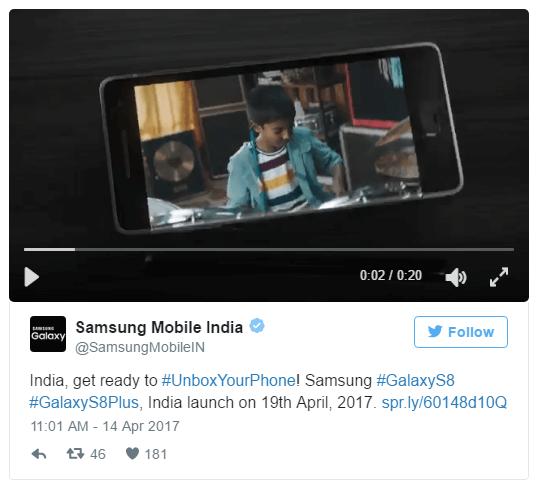 Samsung India's earlier tweet
