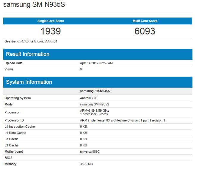 Refurbished Galaxy Note 7 spotted on GeekBench