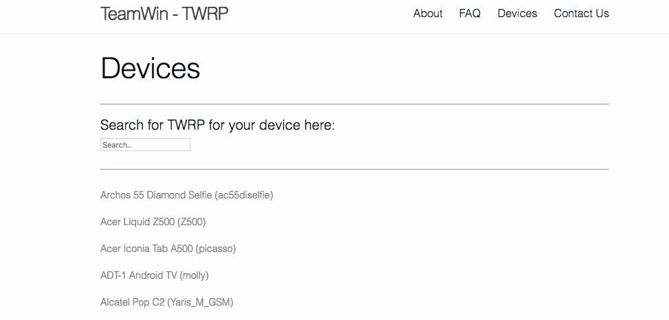 Official TWRP Website -Devices