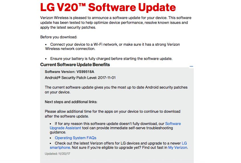 Verizon LG V20 VS99518A November 2017 Security Patch Update