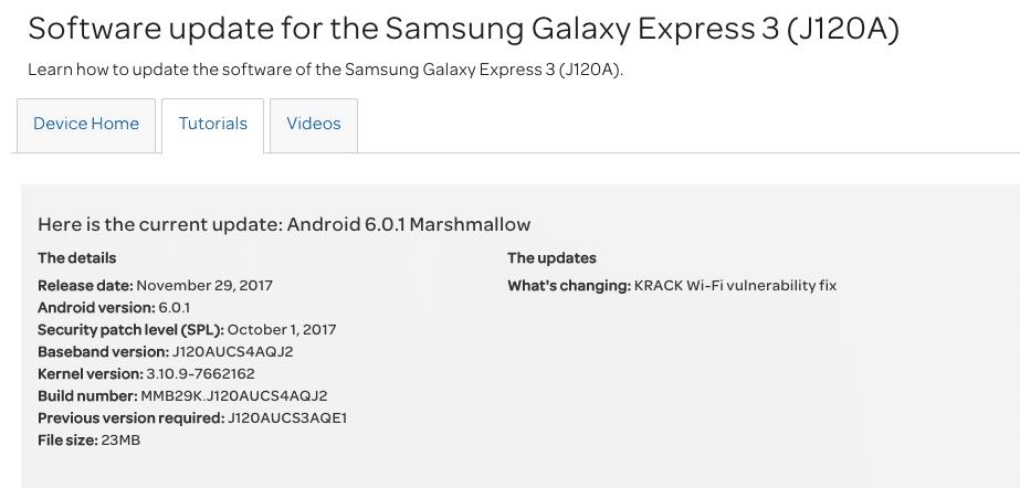 AT&T Galaxy Express 3 J120AUCS4AQJ2/KRACK Fix/October 2017 OTA Security Patch