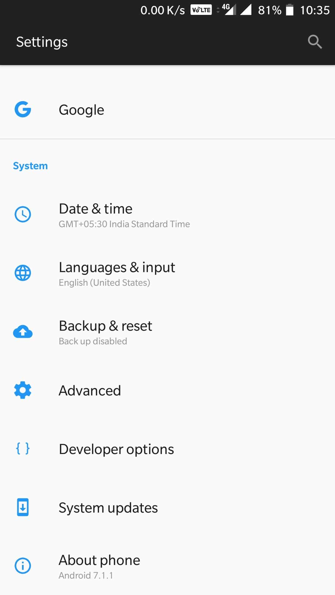 System Update check on OnePlus