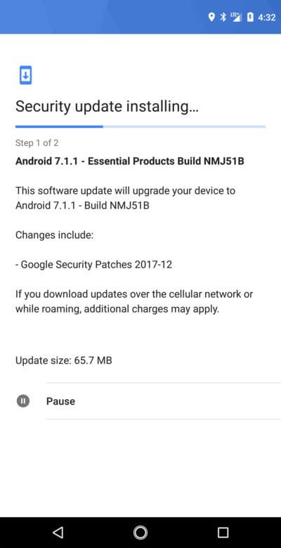 Download and Install Essential Phone (PH-1) NMJ51B December Security Patch [OTA]
