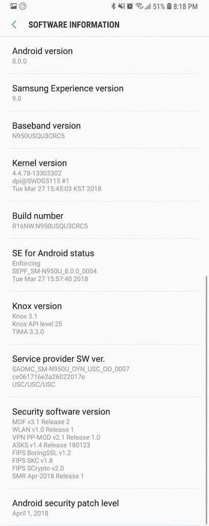 Galaxy Note 8 N950USQU3CRC5 April 2018 Security Update