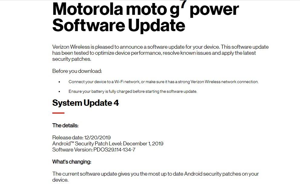 PDOS29.114-134-7: Download Verizon Moto G7 Power December 2019 Patch