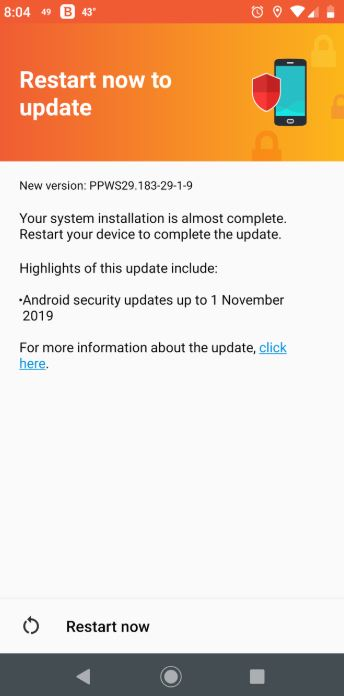Moto Z3 Play Nov 2019 Security Patch