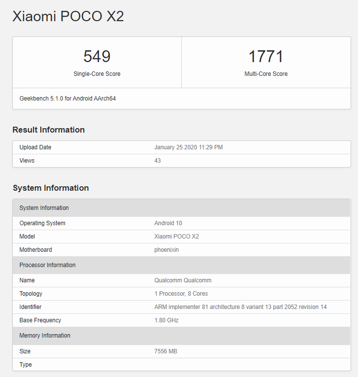 Poco X2 to come with 6GB and 8GB RAM variants, Geekbench scores confirmed.