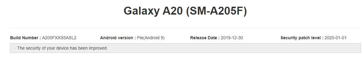 Galaxy A20 A205FXXS5ASL2 January 2020 update