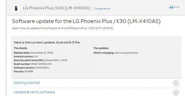 AT&T LG Phoenix Plus / K30 Gets X410AS20c December 2019 patch
