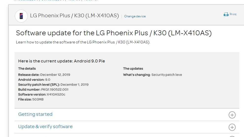 AT&T LG Phoenix Plus / K30 Gets X410AS20c December 2019 patch