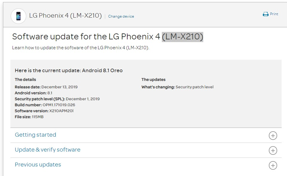 AT&T LG Phoenix 4 grabs X210APM20l December 2019 patch
