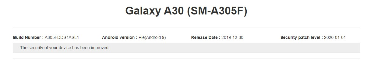 Galaxy A30 A305FDDS4ASL1 January 2020 update