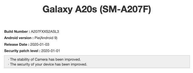 Galaxy A20s A207FXXS2ASL3 January 2020 update
