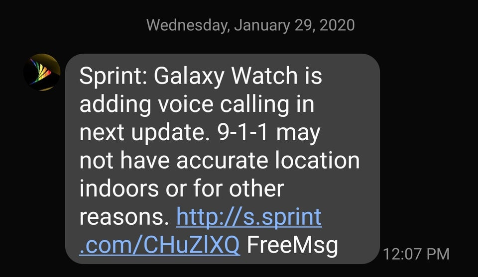 Sprint Samsung Galaxy Watch will soon receive VoLTE calling support