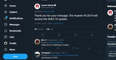 Huawei Y9 2019 is going to get Android 10 (EMUI 10) update