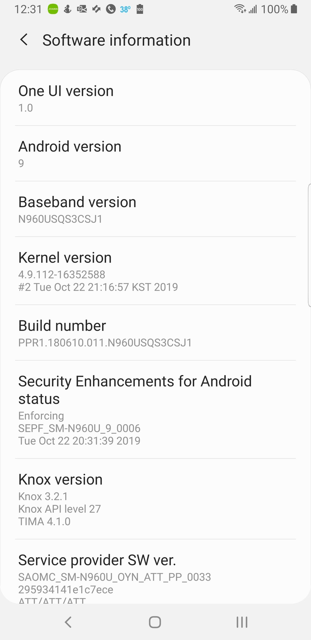 AT&T Galaxy Note 9 received Android 10 (One UI 2.0) update