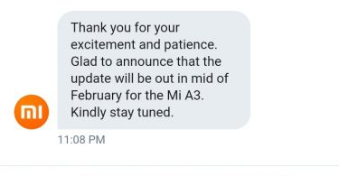 Xiaomi Mi A3 to Get Stable Android 10 Update in Mid of February