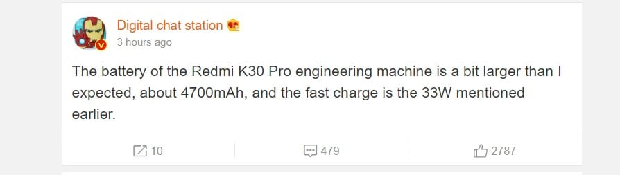 Redmi K30 Pro to come with 4700mAh battery and 33W Fast Charging