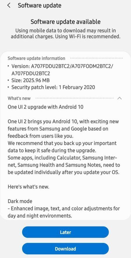 Samsung Galaxy A70s grabs One UI 2.0 based Android 10 Stable Update