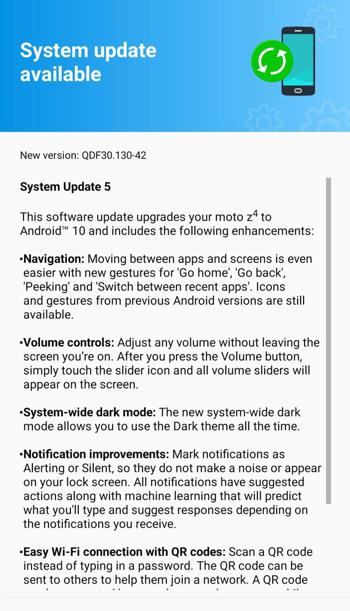 Verizon locked and unlocked Moto Z4 gets Stable Android 10 OTA update in United States