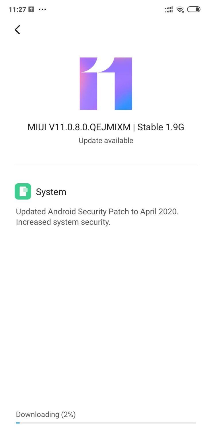 POCO F1 MIUI-11.0.8.0-OTA-update