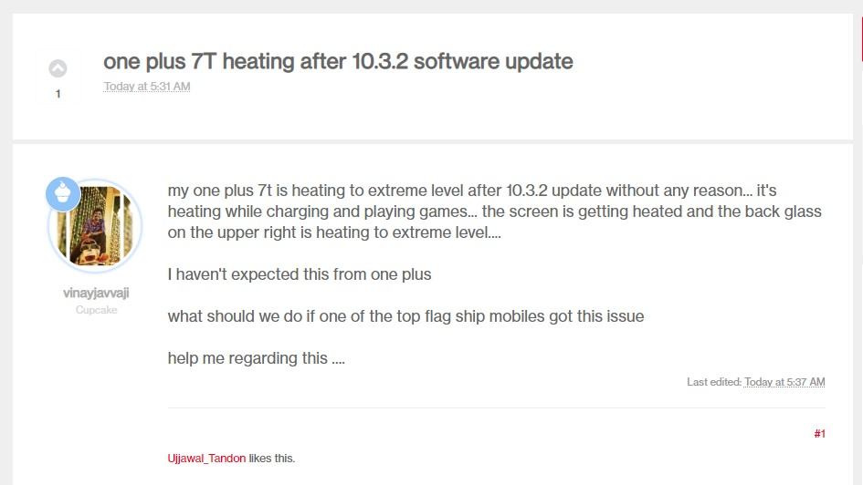 OnePlus 7T Users Reporting heating Issues after 10.3.2 Software Update