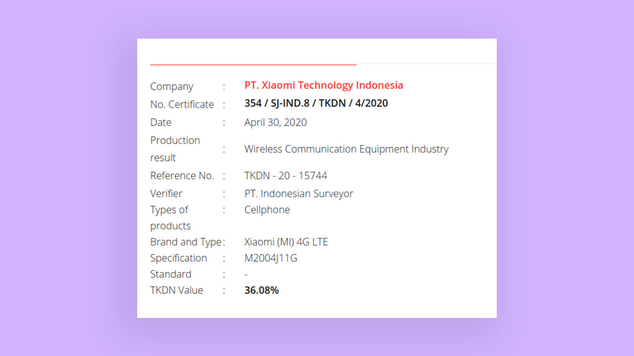 POCO F2 Pro (M2004J11G) is now certified by TKDN in Indonesia