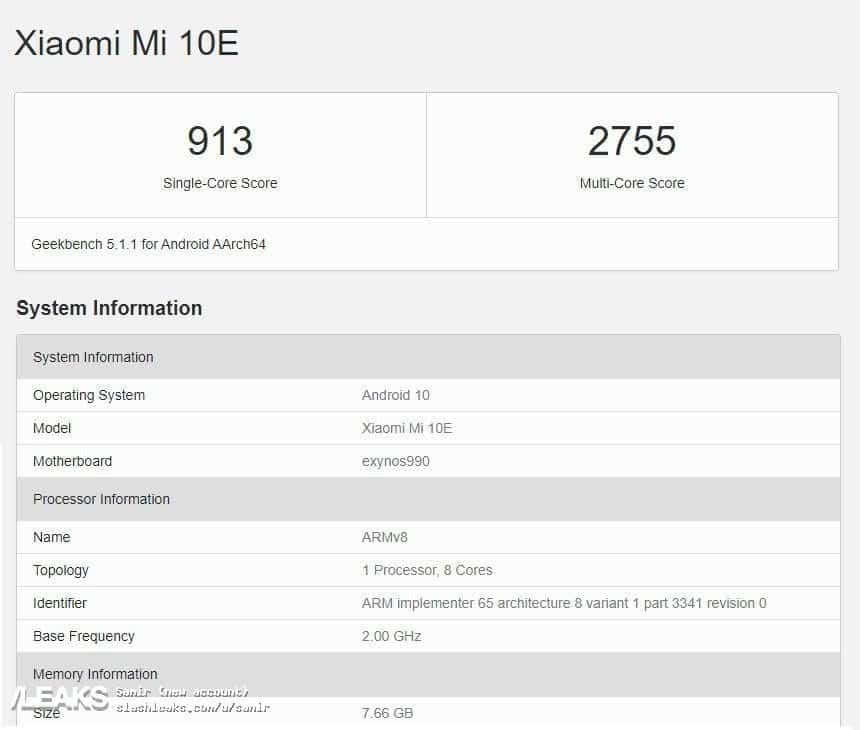 Xiaomi Mi 10E appeared on GeekBench