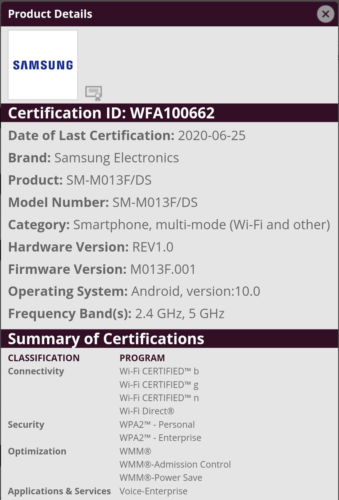 Galaxy M01 Core (SM-M013F/DS) bags Wi-Fi Alliance certification