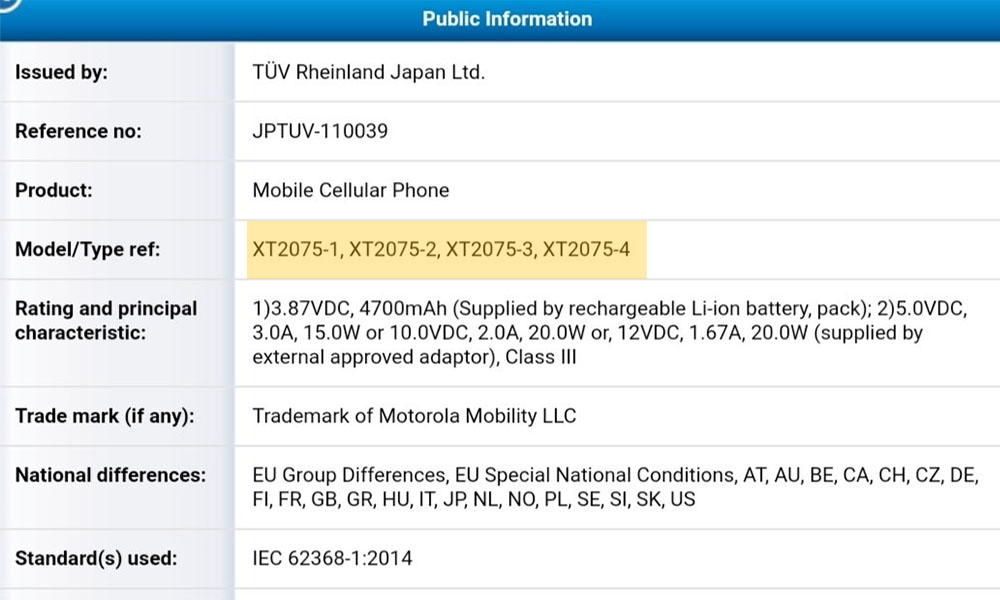 Motorola Edge Lite with 4700mAh battery grabs TÜV Rheinland certification