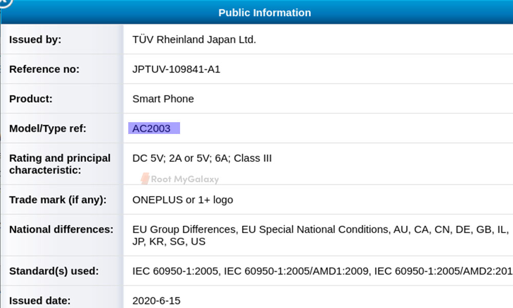 OnePlus Nord/ Z 5G listed on TÜV Rheinland certification