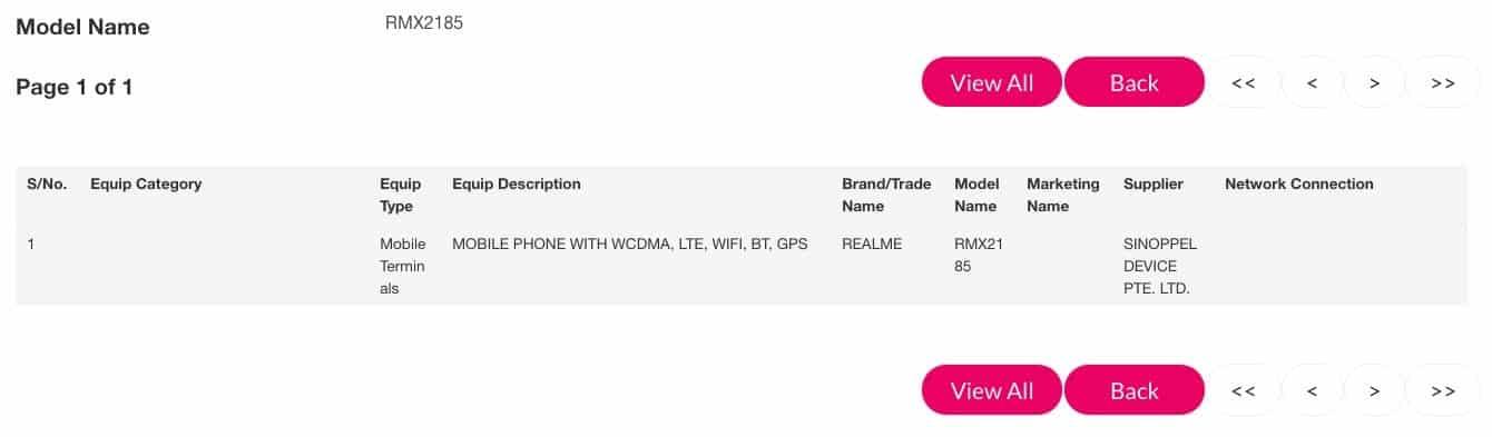 Realme C1 (RMX2185)  IMDA Certification