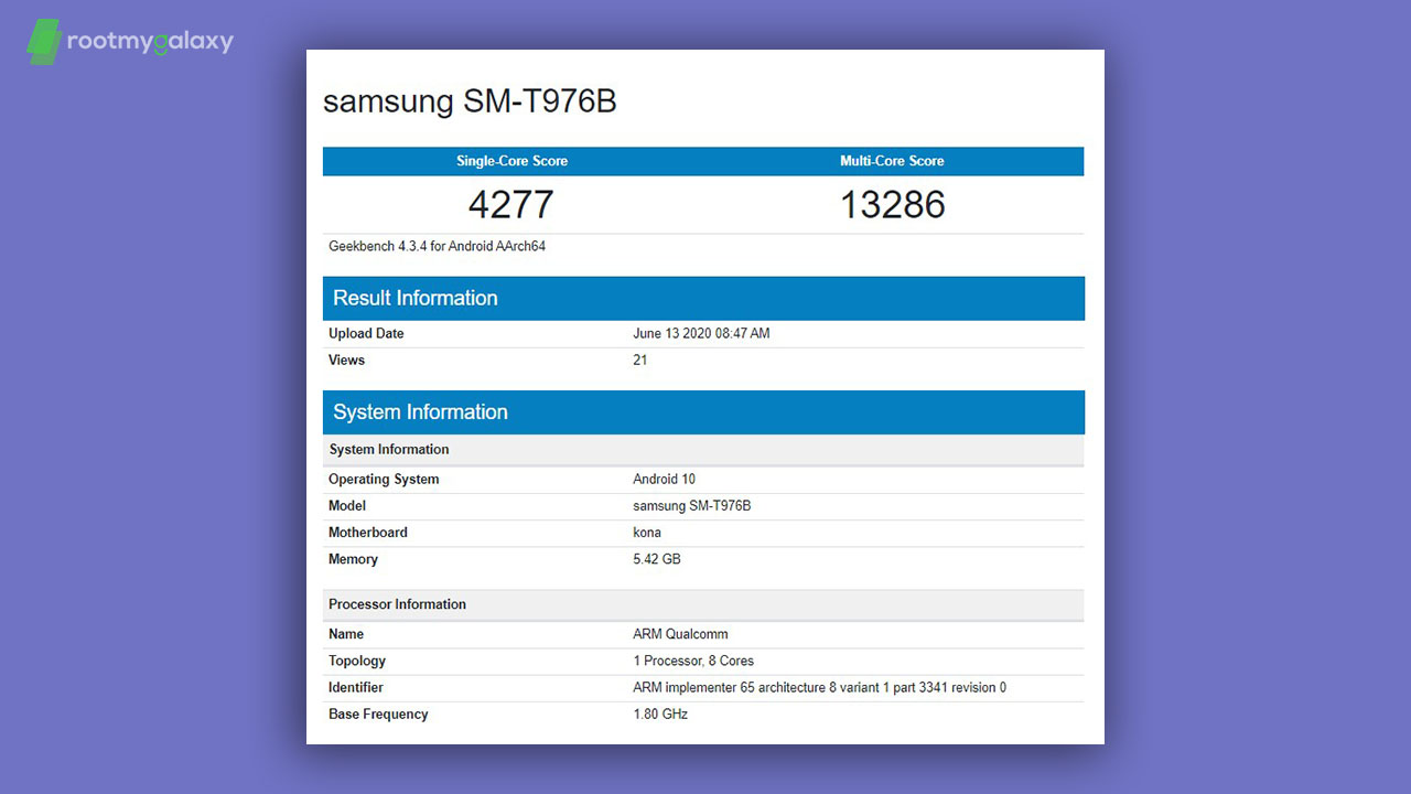 Samsung Galaxy Tab S7+ with SD 865 SoC and 6GB RAM spotted on Geekbench