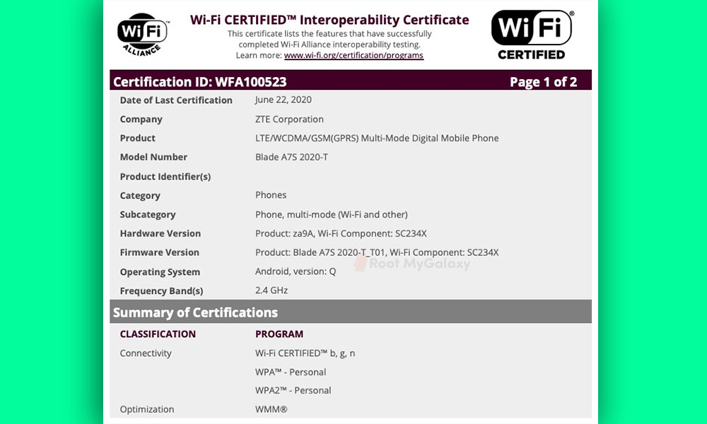 ZTE Blade A7s 2020 with Android Q bags Wi-Fi Alliance certification