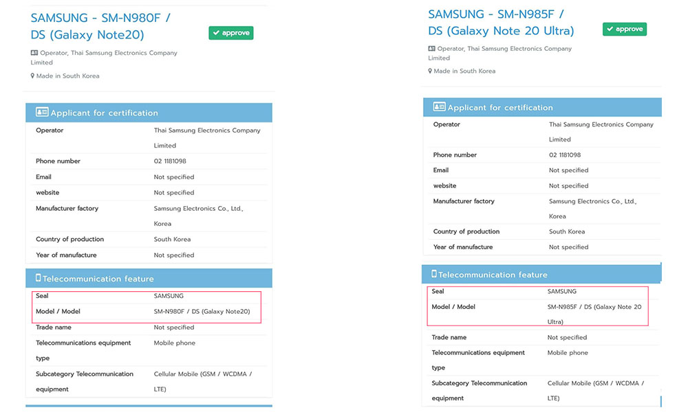 Galaxy Note 20 & Galaxy Note 20 Ultra LTE Variants visits NBTC confirming the monikers