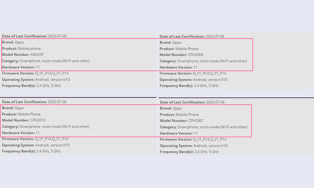 4 new Oppo devices spotted on WiFi Alliance with model number CPH2067, A002OP, CPH2069 and CPH2013
