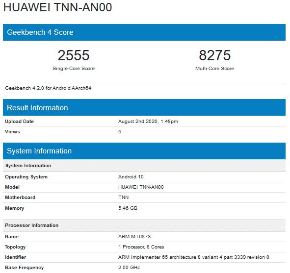 Huawei Enjoy 20s - Geekbench