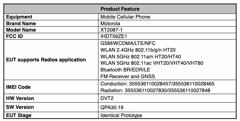 Moto G9 Plus - Fcc certification