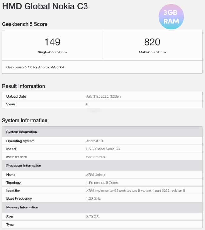 Nokia C3 appears on Geekbench With 3GB RAM and Android 10