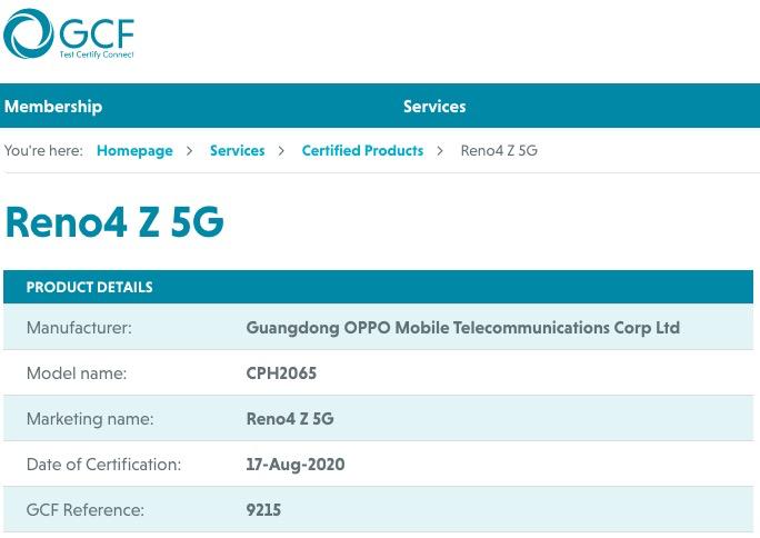 OPPO Reno4 Z 5G GCF certificate