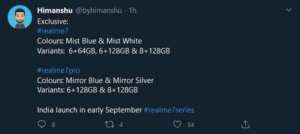 Realme 7, 7 Pro - colors, storage variants