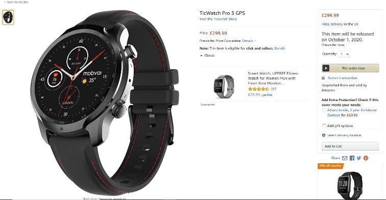 TicWatch Pro 3 Amazon listing