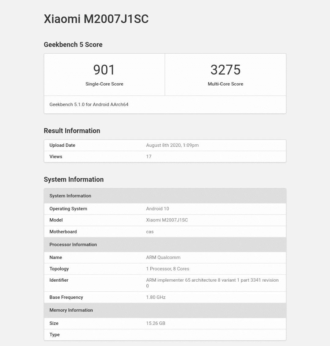 Xiaomi Mi 10 Ultra (M2007J1SC) with 16GB RAM spotted on Geekbench